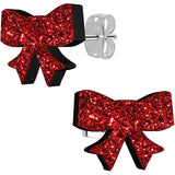 Ruby Red Glitter Ribbon Stud Earrings