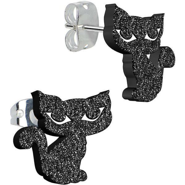 Black Onyx Glitter Kitty Stud Earrings