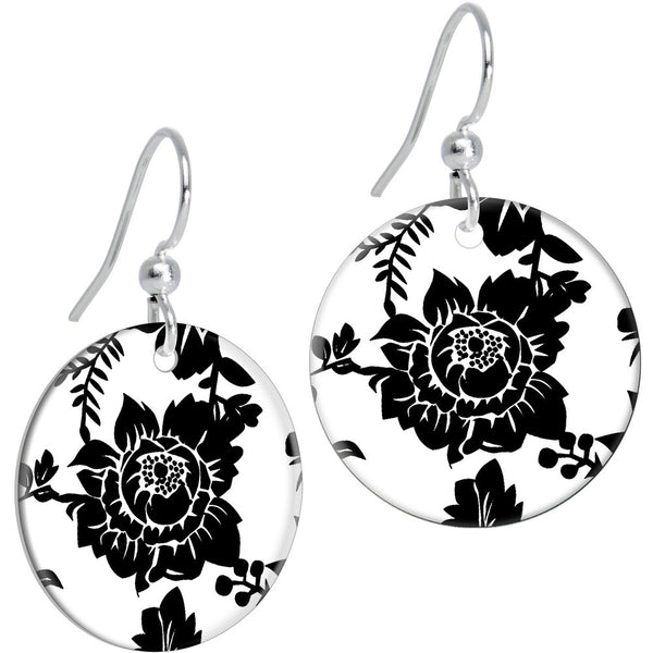 Black White Grandma's Favorite China Pattern Flower Dangle Earrings