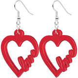 Red Acrylic Heart Full of Love Dangle Earrings