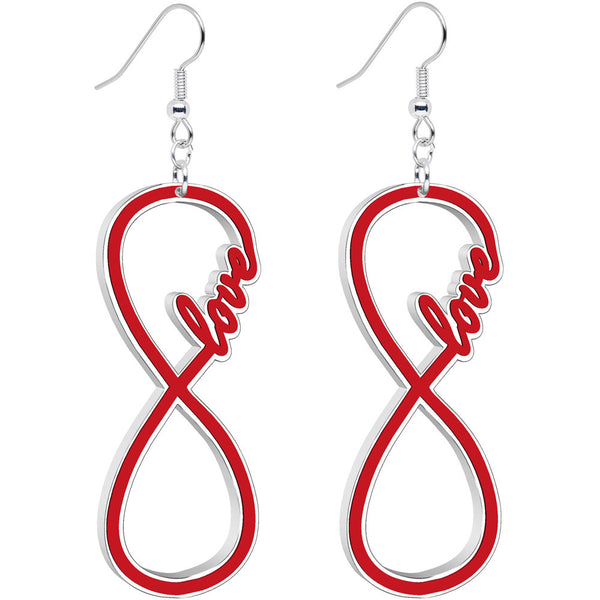 Red and White Acrylic Love to Infinity Dangle Earrings