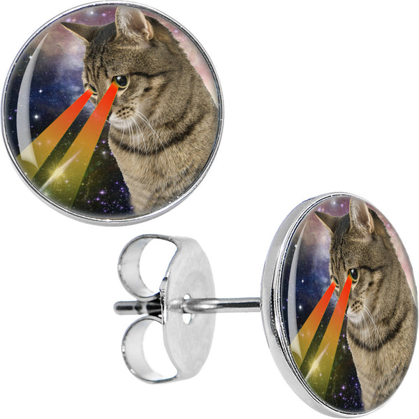 Cosmic Cat Laser Eyes Galaxy Stud Earrings