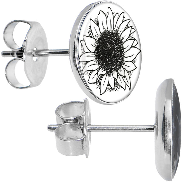 Stainless Steel Arty Sunflower Stud Earrings