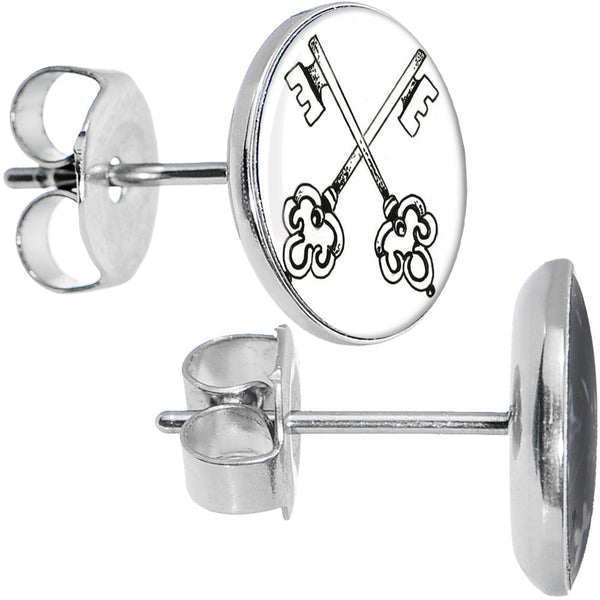 Stainless Steel Arty Crossed Keys Stud Earrings