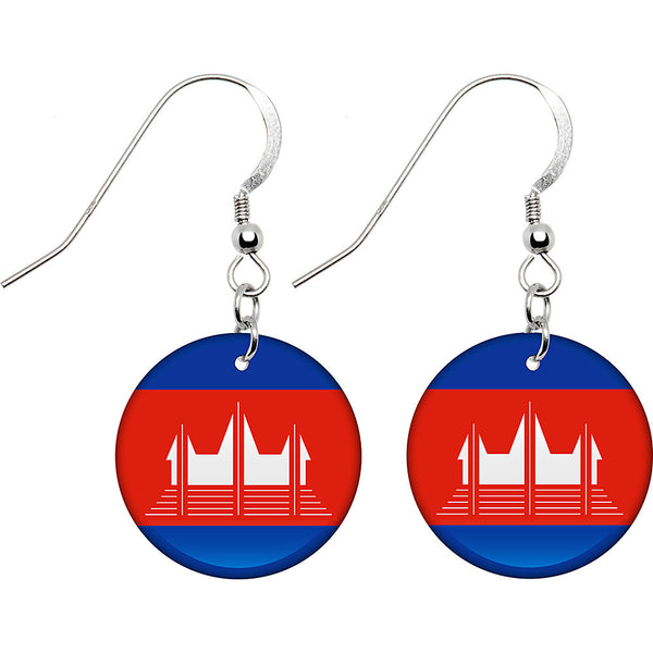 Cambodia Flag Earrings