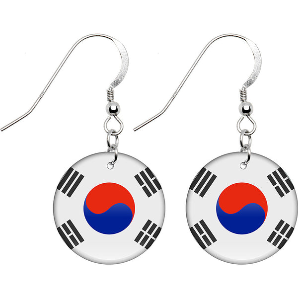South Korea Flag Earrings