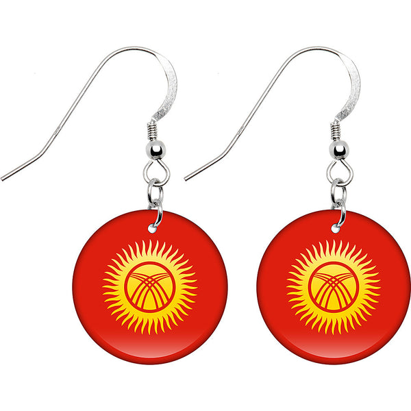 Kyrgyzstan Flag Earrings