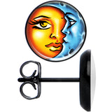 Black Anodized Celestial Prismatic Sun and Moon Stud Earrings