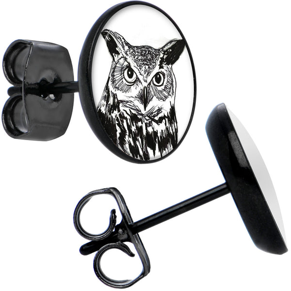 Black Arty Horned Owl Stud Earrings