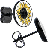 Black Steel Yellow Sunflower Stud Earrings