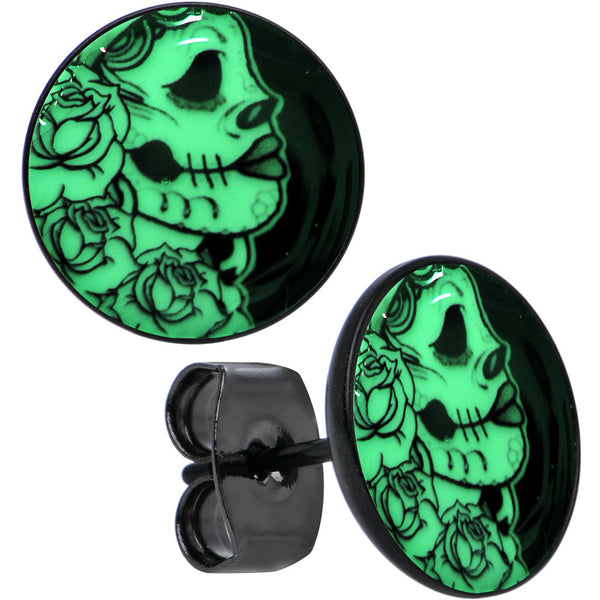 Black Anodized Gothic Rose Skull Glow in the Dark Stud Earrings