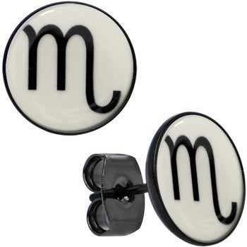 Black Glow in the Dark Scorpio Astrology Sign Zodiac Sign Stud Earrings