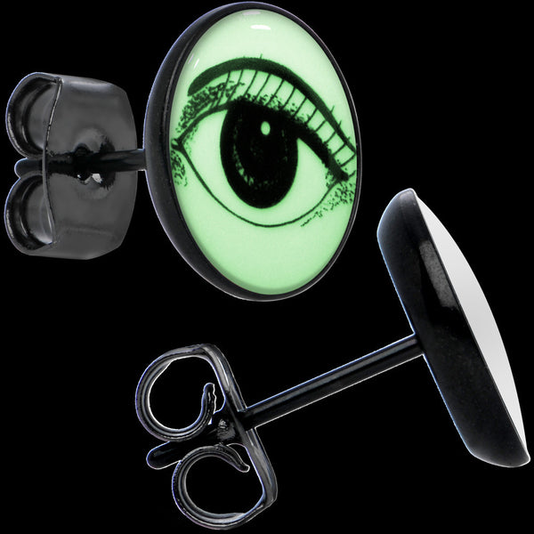 Black Arty Open Eye Glow in the Dark Stud Earrings