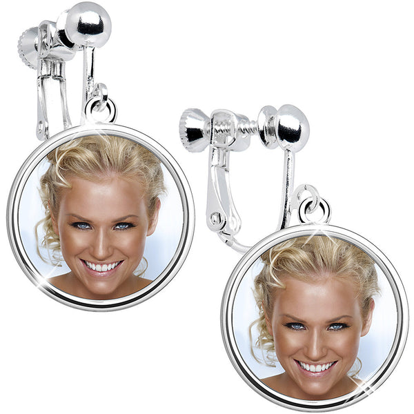 Handcrafted Full Color Custom Photo Clip On Earrings