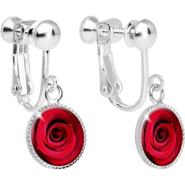 Red Rose Circle Dangle Clip Earrings