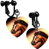 Heart Horse Clip Earrings