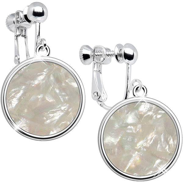 Mother of Pearl Dangle Clip Earrings