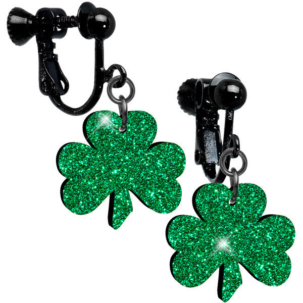 Green Glitter Luck Clover Clip On Earrings
