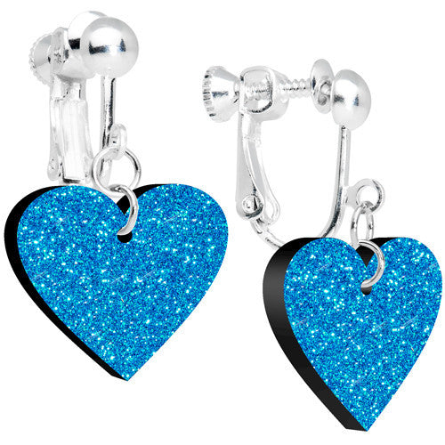 Island Blue Glitter Heart Dangle Clip Earrings