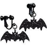 Glittery Black Bat Clip-on Earrings
