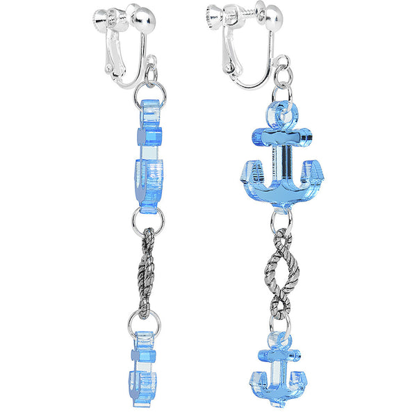 Blue Mirrored Acrylic Anchor Dangle Clip On Earrings