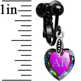 Custom Vitrail Heart Personalized Clip On Earrings Created with Swarovski Crystals