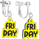 Black Yellow Friday Clip On Earrings