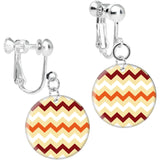 Light Brown Fire in Flagstaff Chevron Clip On Earrings