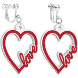 Red and White Acrylic Heart Full of Love Clip On Earrings