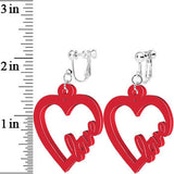 Red Acrylic Heart Full of Love Clip On Earrings