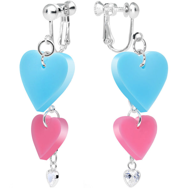 Clear CZ Pink and Turquoise Pretty Triple Heart Clip On Earrings