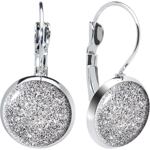 Design Diamond Dust Glitter Leverback Earrings