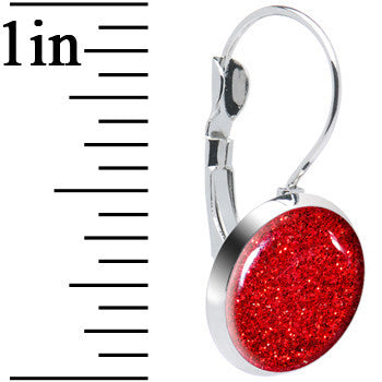 Design Ruby Red Glitter Leverback Earrings