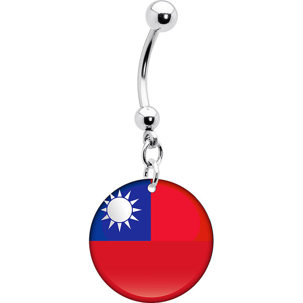 Taiwan Flag Belly Ring