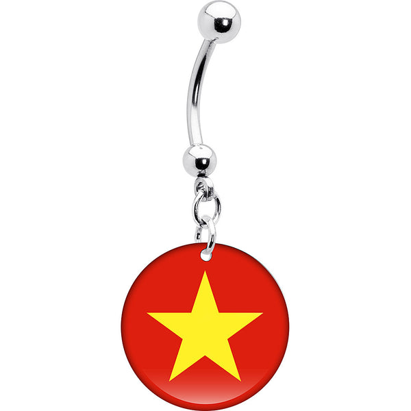 Vietnam Flag Belly Ring