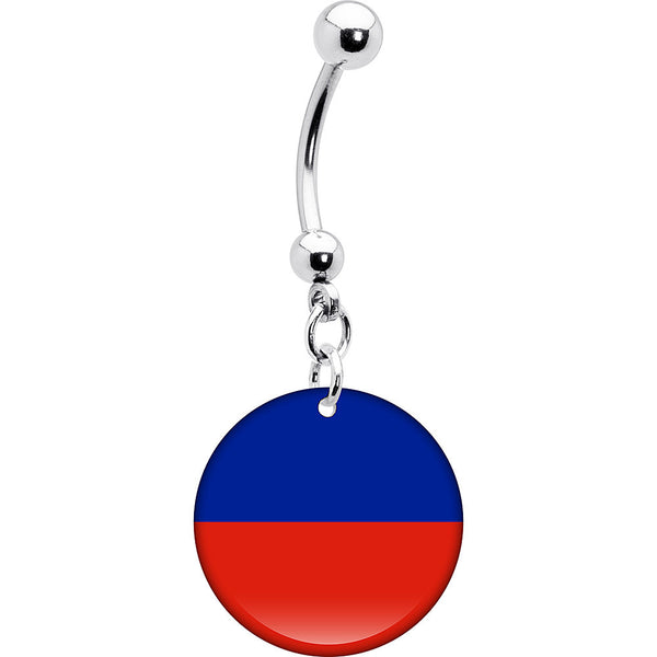 Haiti Flag Belly Ring