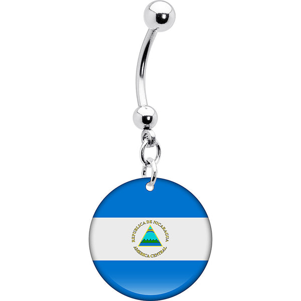 Nicaragua Flag Belly Ring
