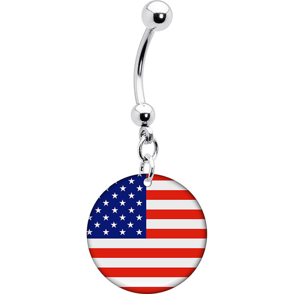 United States Flag Belly Ring