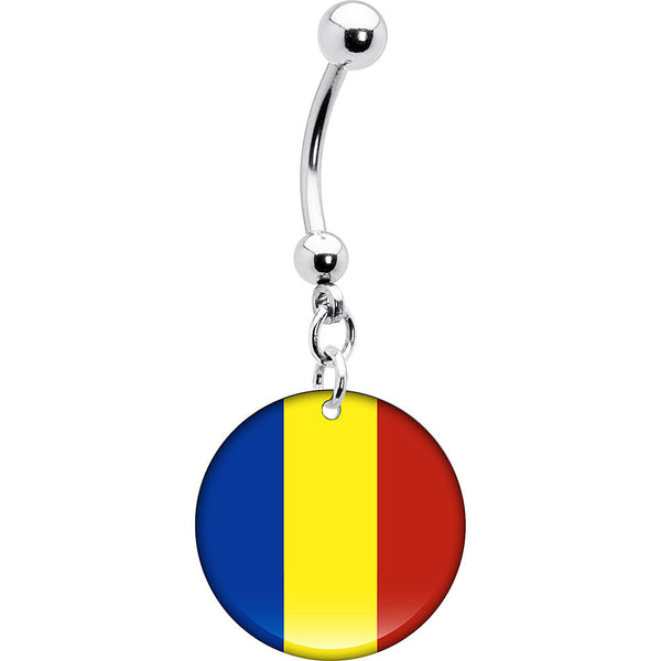 Romania Flag Belly Ring