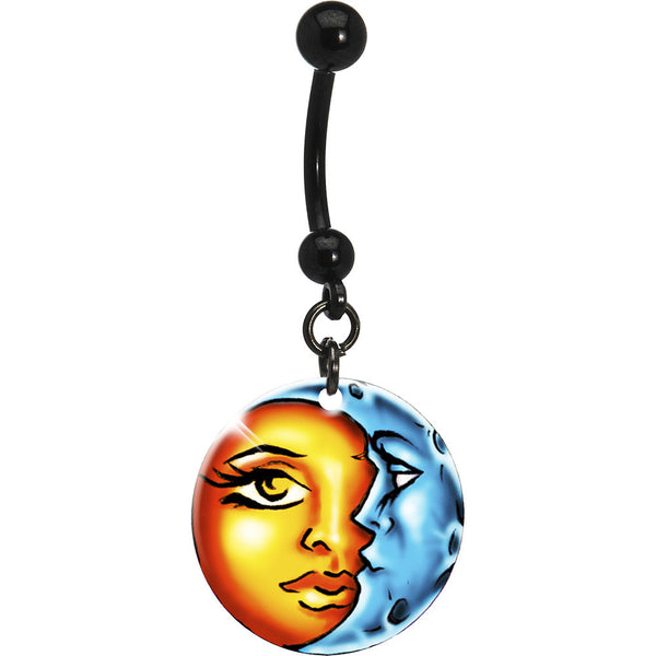 Handcrafted Celestial Sun and Moon Belly Ring