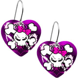Handcrafted Heart Lady Skull and Crossbones Earrings