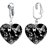 Handcrafted Heart BW Flight of the Butterfly Clip On Earrings