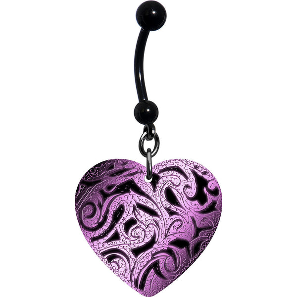 Heart Pink Black Tribal Belly Ring