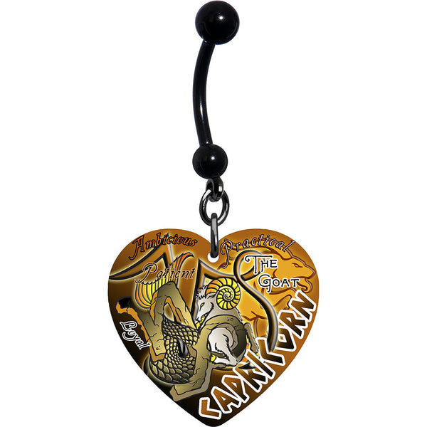 Heart Zodiac Capricorn Belly Ring