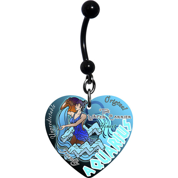 Heart Astrology Sign Zodiac Aquarius Belly Ring