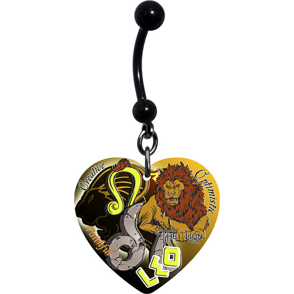 Heart Astrology Sign Zodiac Leo Belly Ring