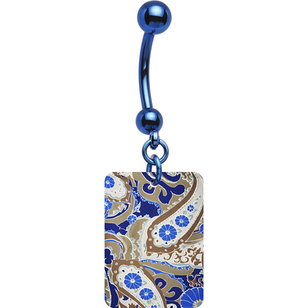 Blue Paisley Belly Ring