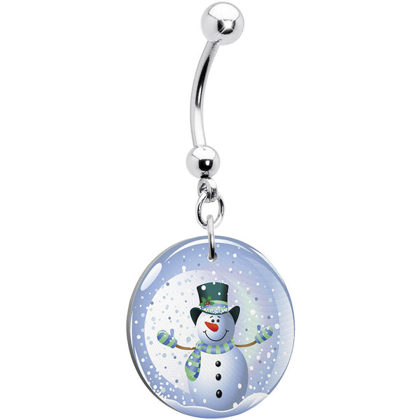 Holiday Snow Globe Snowman Belly Ring