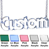 Custom Acrylic Lucite Name Pendant Necklace