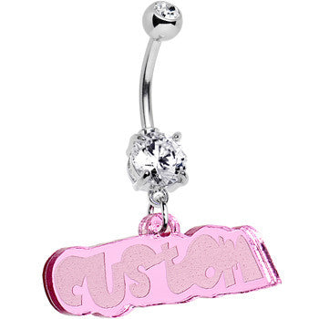 Custom Clear Gem Pink Acrylic Lucite Name Dangle Belly Ring